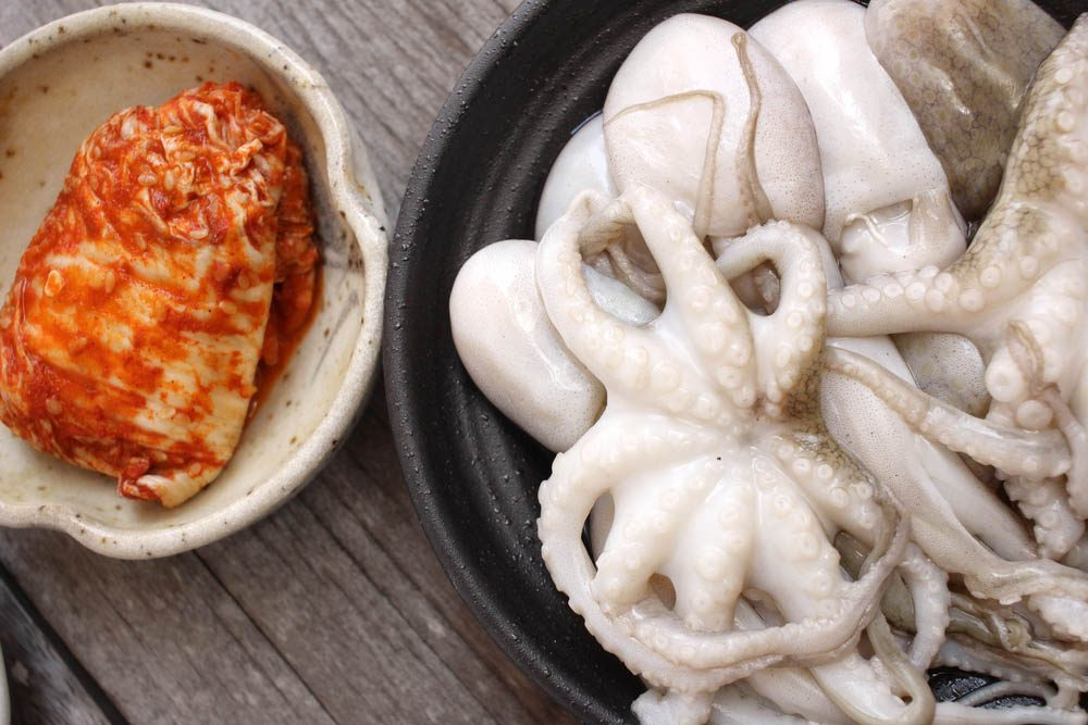 Aliments dangereux : le sannakji, une petite pieuvre consommée en Asie.