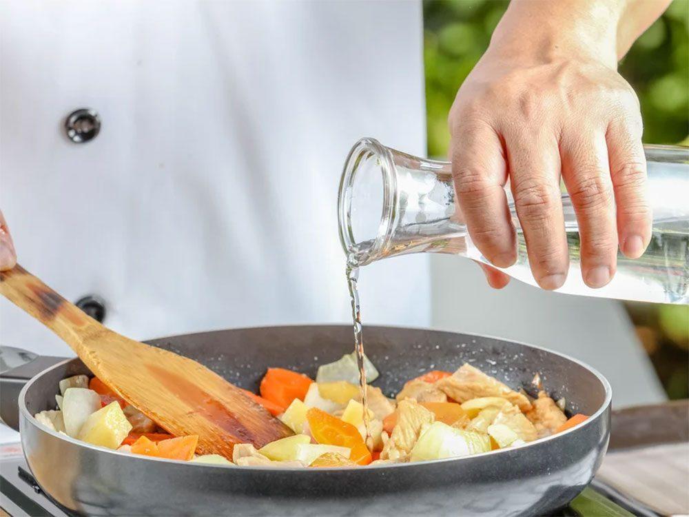 Erreur en cuisine: vous rajoutez de l'eau.