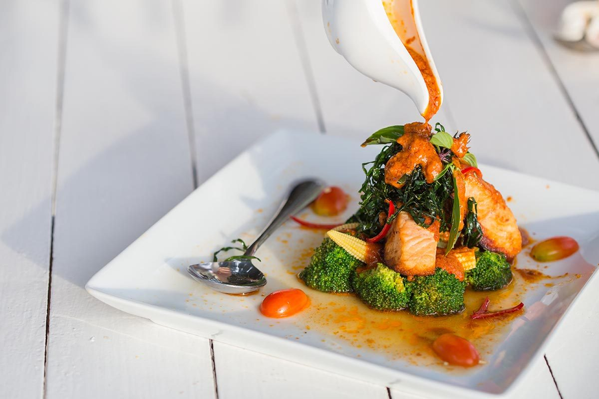 Recettes pour diabétiques : truite à la sauce au rie et curry.