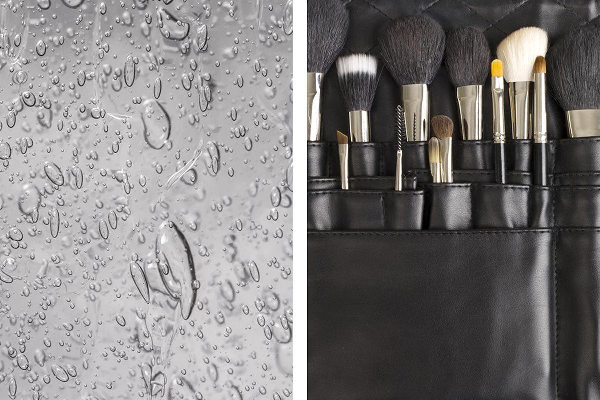 Le désinfectant pour les mains sert à nettoyer des pinceaux à maquillage.