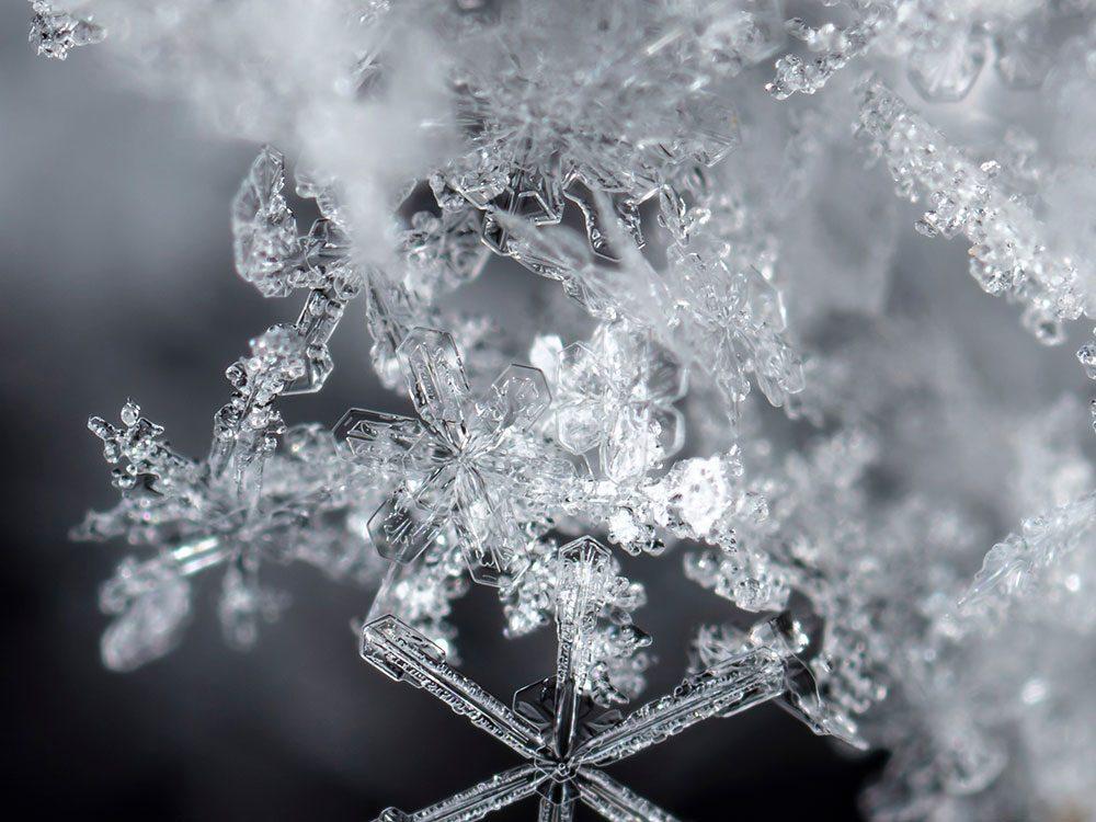 Quand on utilise l'expression «de la neige brillante» pour parler de la météo en hiver.