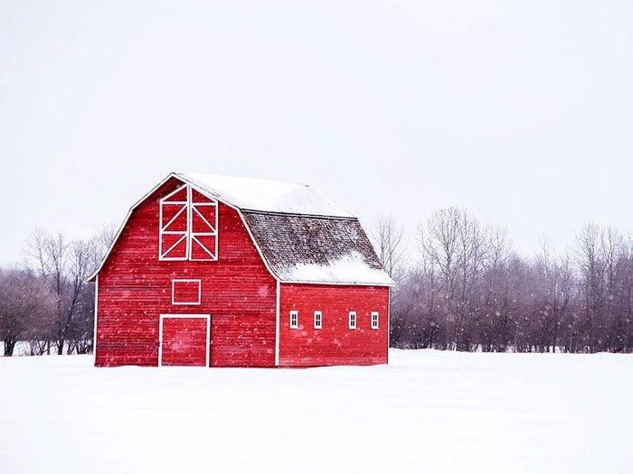 Quand on utilise l'expression «une tempête de grange» pour parler de la météo en hiver.