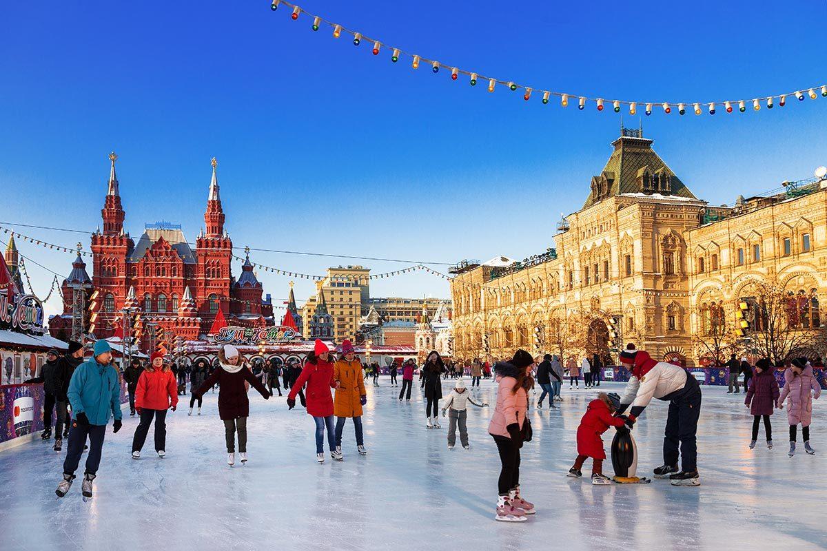 Patinoire à Moscou, Russie