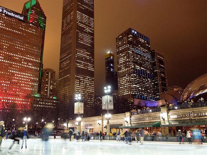 La patinoire de Chicago aux États-Unis.