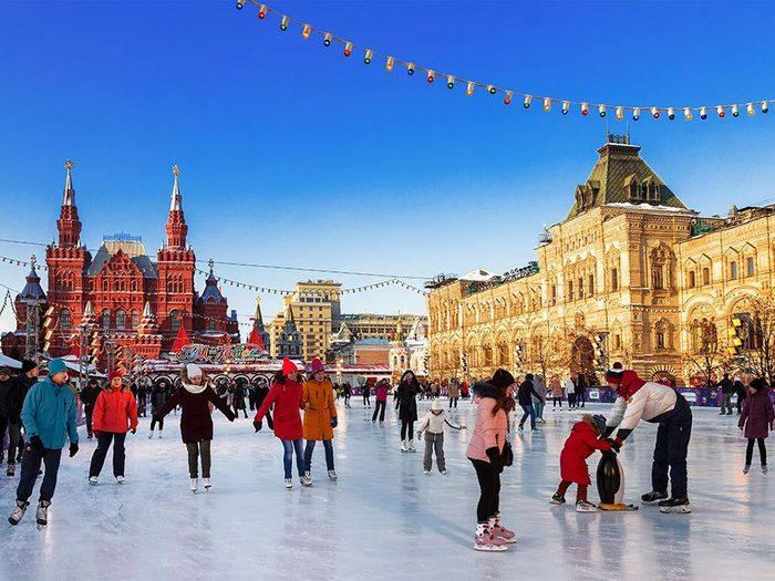 La patinoire à Moscou en Russie.