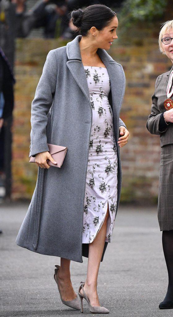 Meghan Markle lors de son second trimestre de grossesse.
