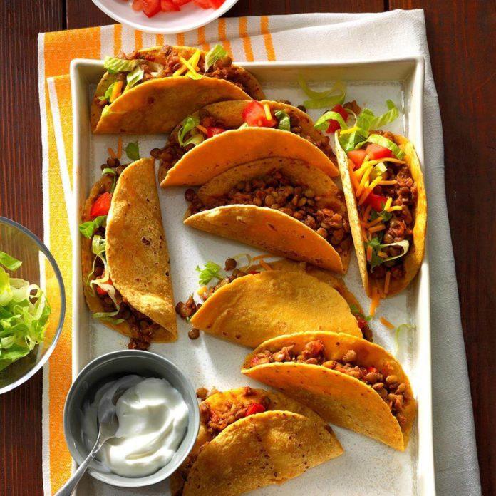 Délicieuse recette végétarienne de tacos aux lentilles.