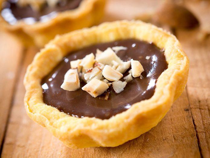 Un dessert à base de mascarpone au gingembre et chocolat.
