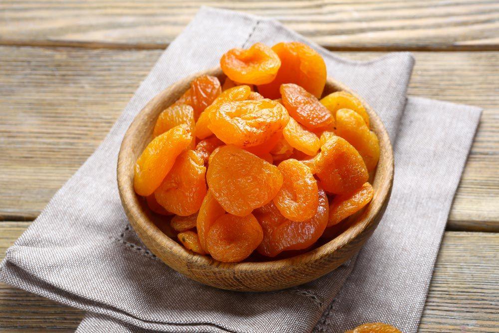 Source de protéines végétales : les abricots séchés.