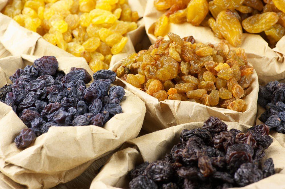 Source de protéines végétales : les raisins secs.