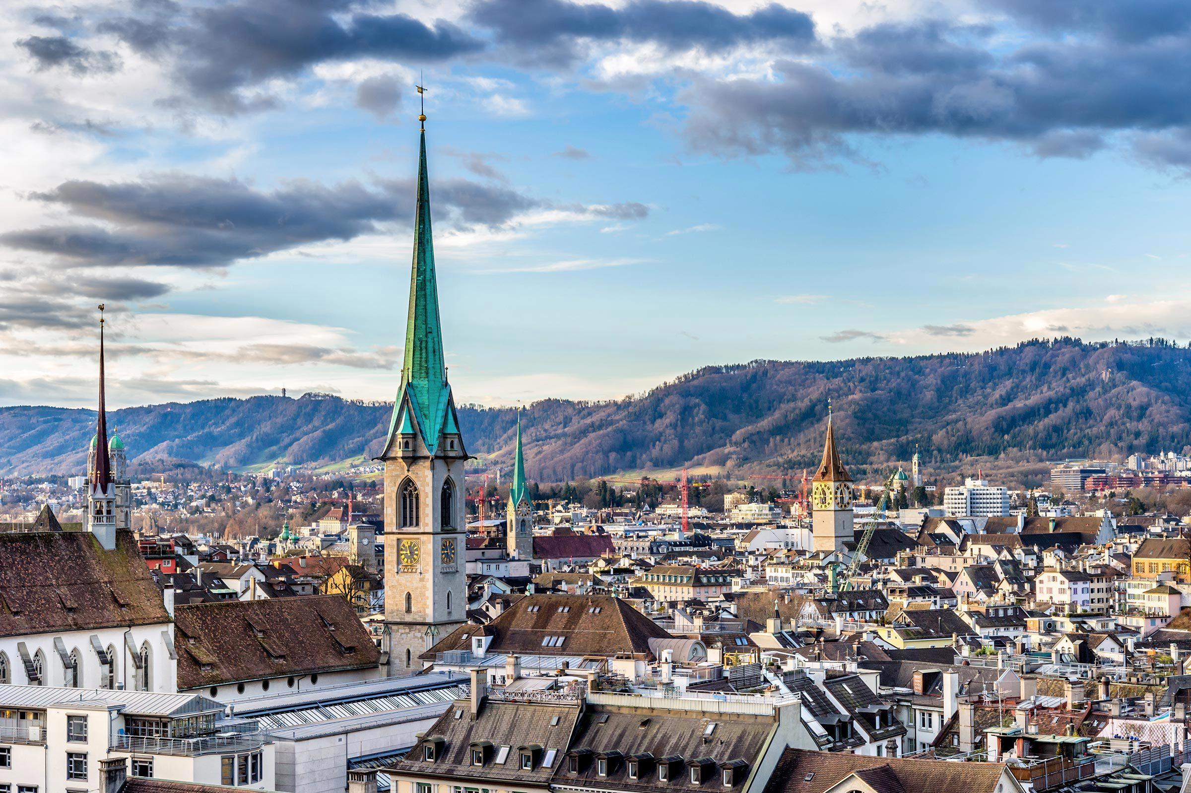 Villes les moins polluées : Zurich, Suisse.