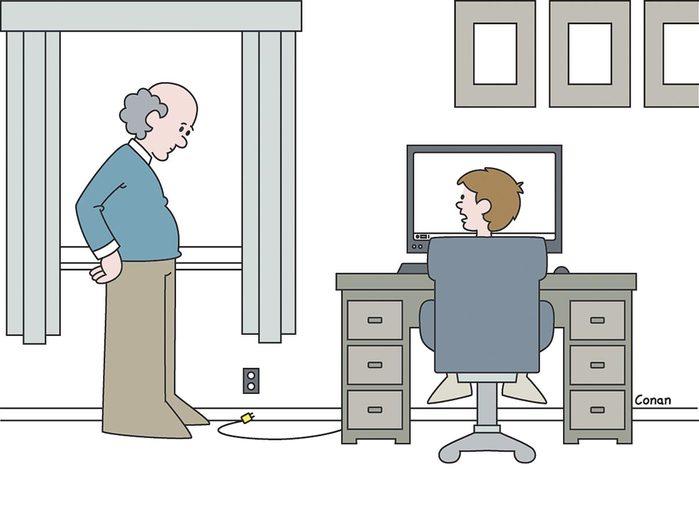 C'est un problème d'ordinateur, grand-papa, je ne pense pas que tu puisses m'aider.