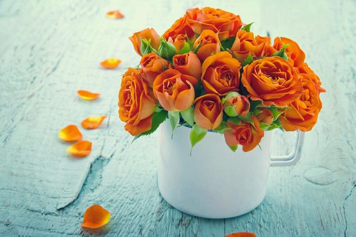 Couleurs de roses : orange pour le désir et la passion.