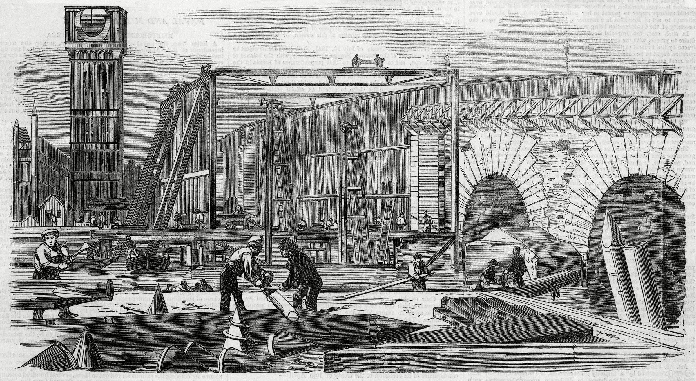 Monument célèbre : construction de Big Ben à Londres.