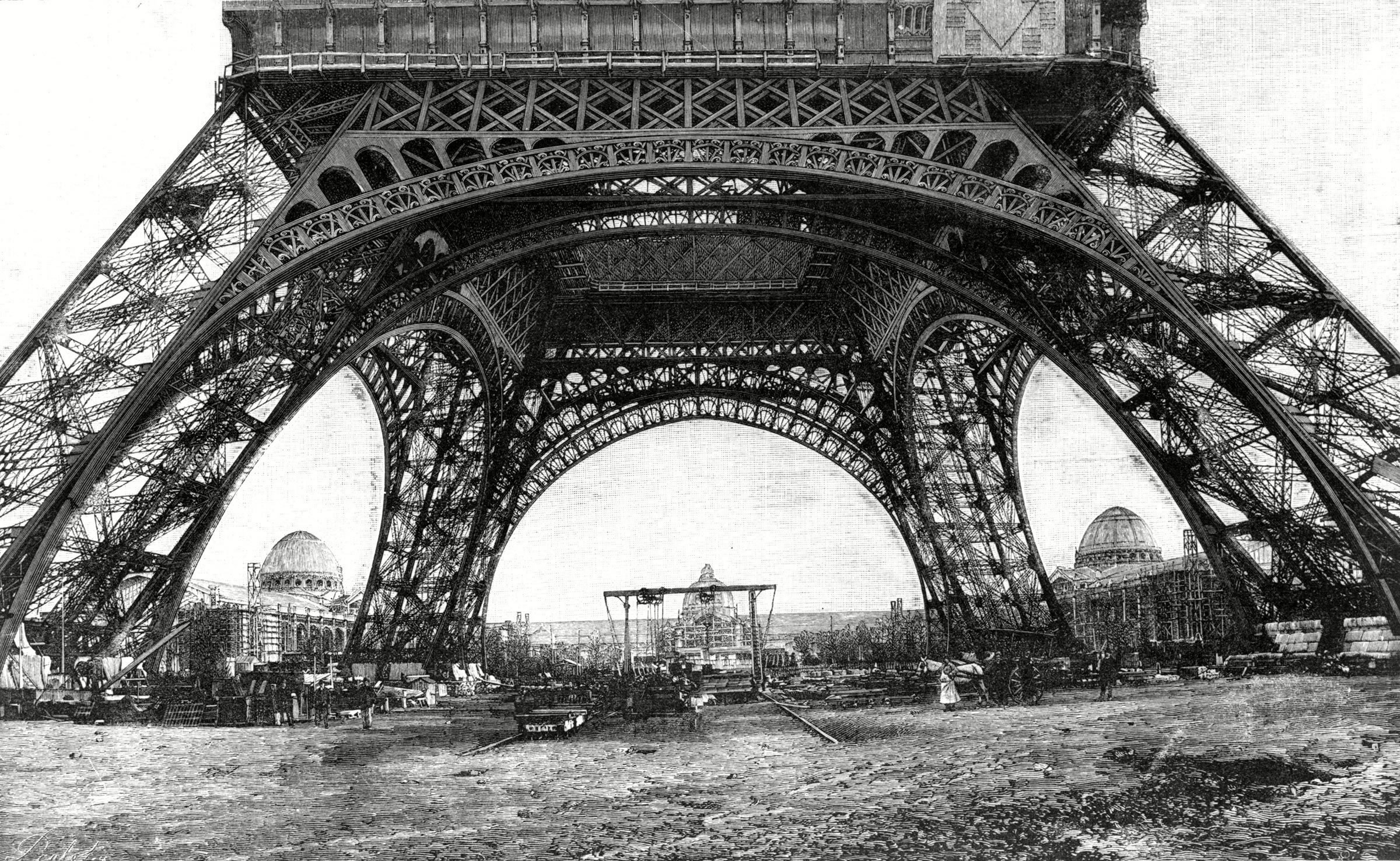 Monument célèbre : construction de la tour Eiffel en France.