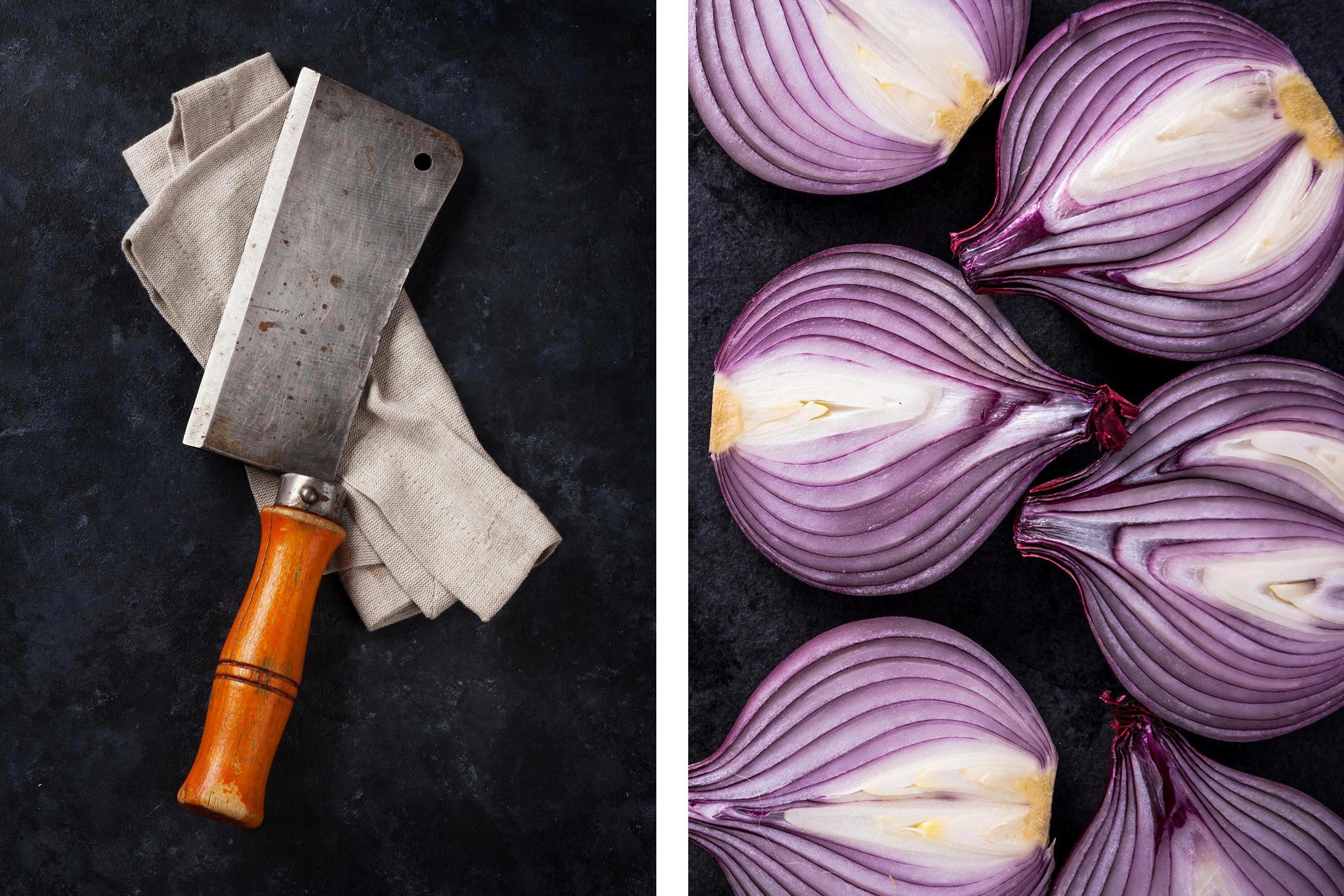 Avec un oignon, enlevez la rouille des couteaux.