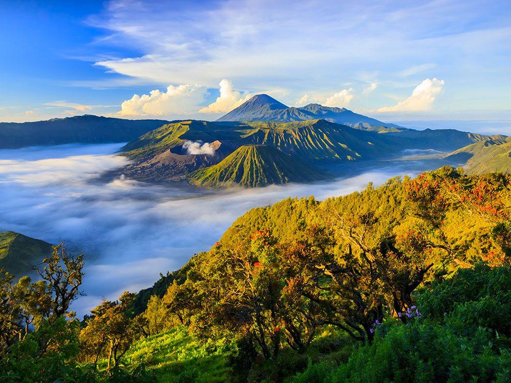 Le parc national de Bromo-Tengger-Semeru en Indonésie, Asie du Sud Est.