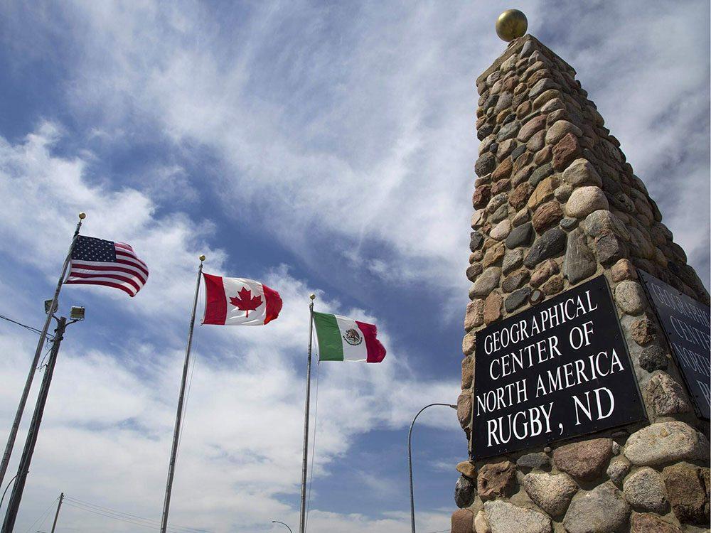 La ville américaine de Center, Dakota du Nord: le centre de l'Amérique-du-Nord.