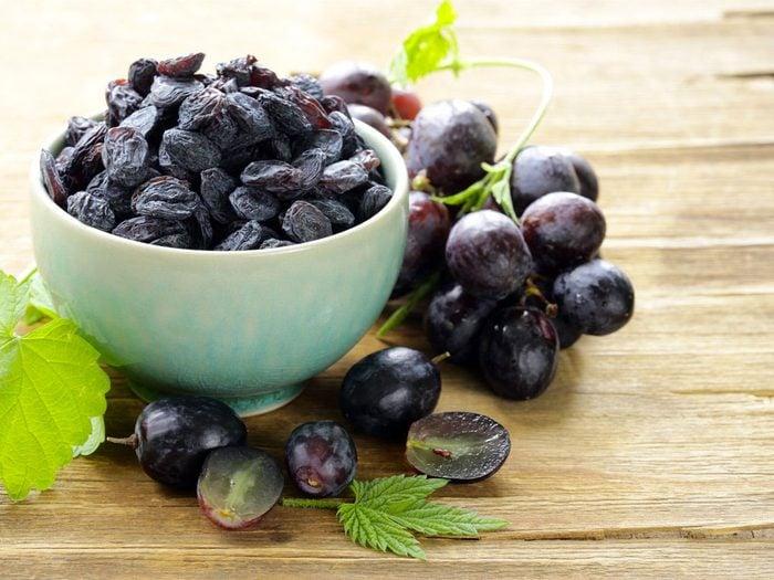 Les raisins secs : de bons antioxydants.