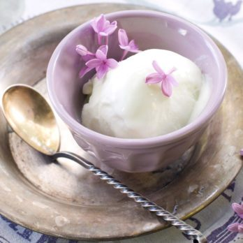 Crème glacée végétalienne à la lavande et au chocolat noir