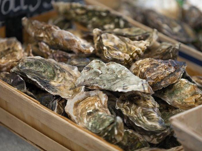Les huîtres font partie des mets traditionnels Canadiens.