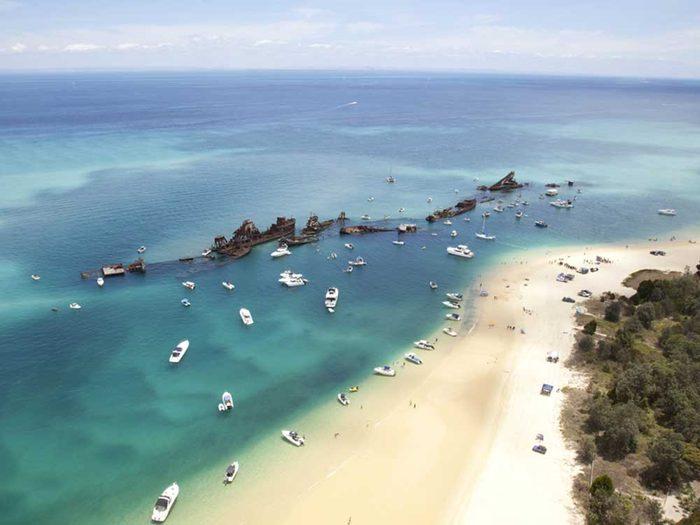 L'île de Moreton en Australie, un endroit pour nager avec des dauphins.