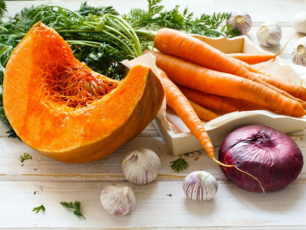 Les carottes, les citrouilles, les potirons et autres sont d'excellents aliments anticancer.