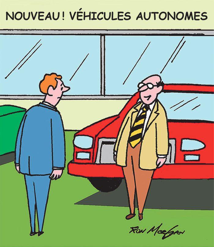 Caricature sur les voitures autonomes.
