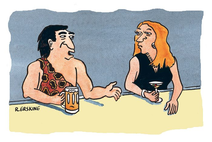 Caricature sur la préhistoire.