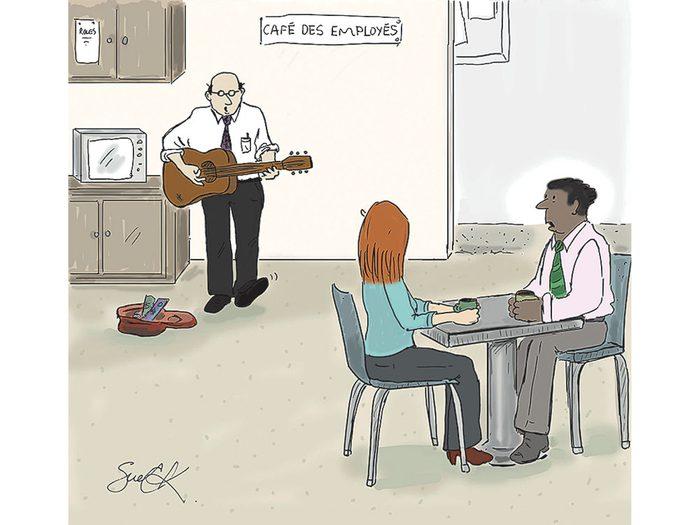 Caricature sur le travail.
