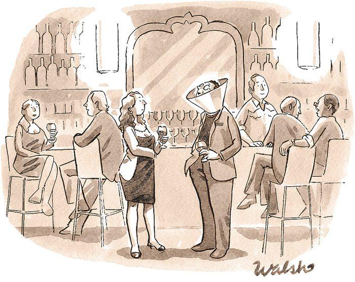 Caricature sur l'addiction au cellulaire.