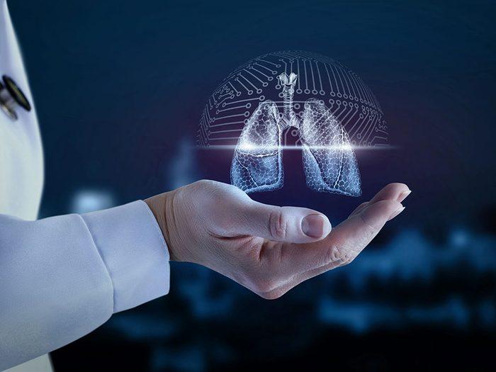 Des substances huileuses à l'intérieur des poumons à cause du vapotage.