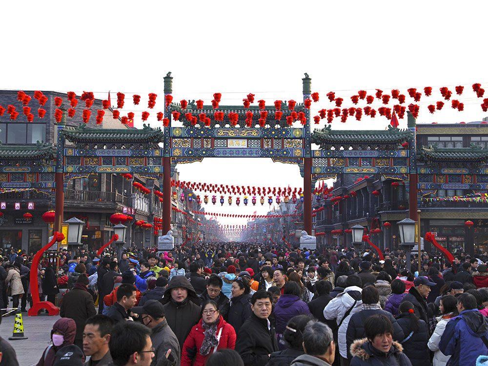 Beijing en Chine est l'une des villes les plus peuplées au monde.