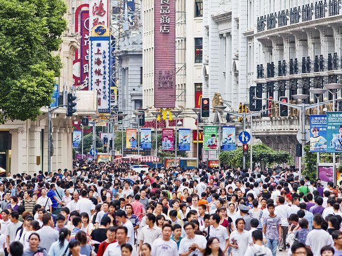 Shanghai en Chine est l'une des villes les plus peuplées au monde.