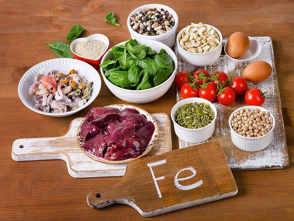 Mangez des aliments riches en fer pour faire le plein d'énergie.
