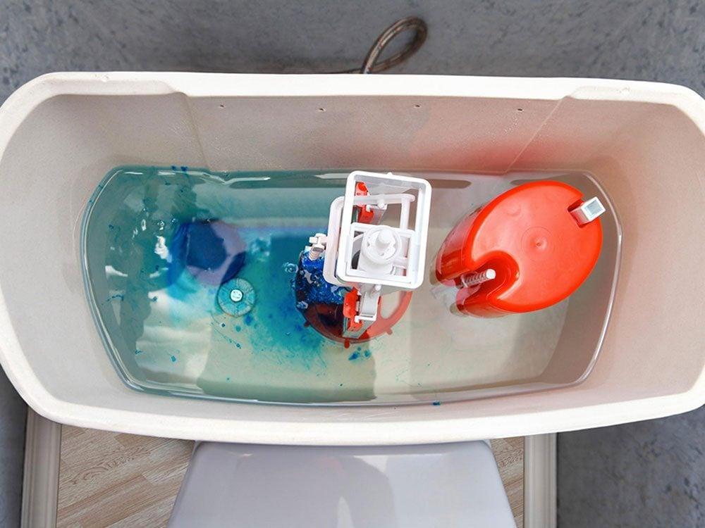 Conseil de plombier: ne mettez pas de brique dans le réservoir de la toilette.