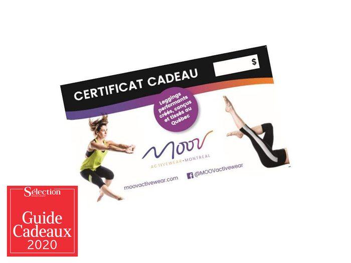 Le certificat cadeau Moov Activewear fait partie des idées de cadeaux de Noël.