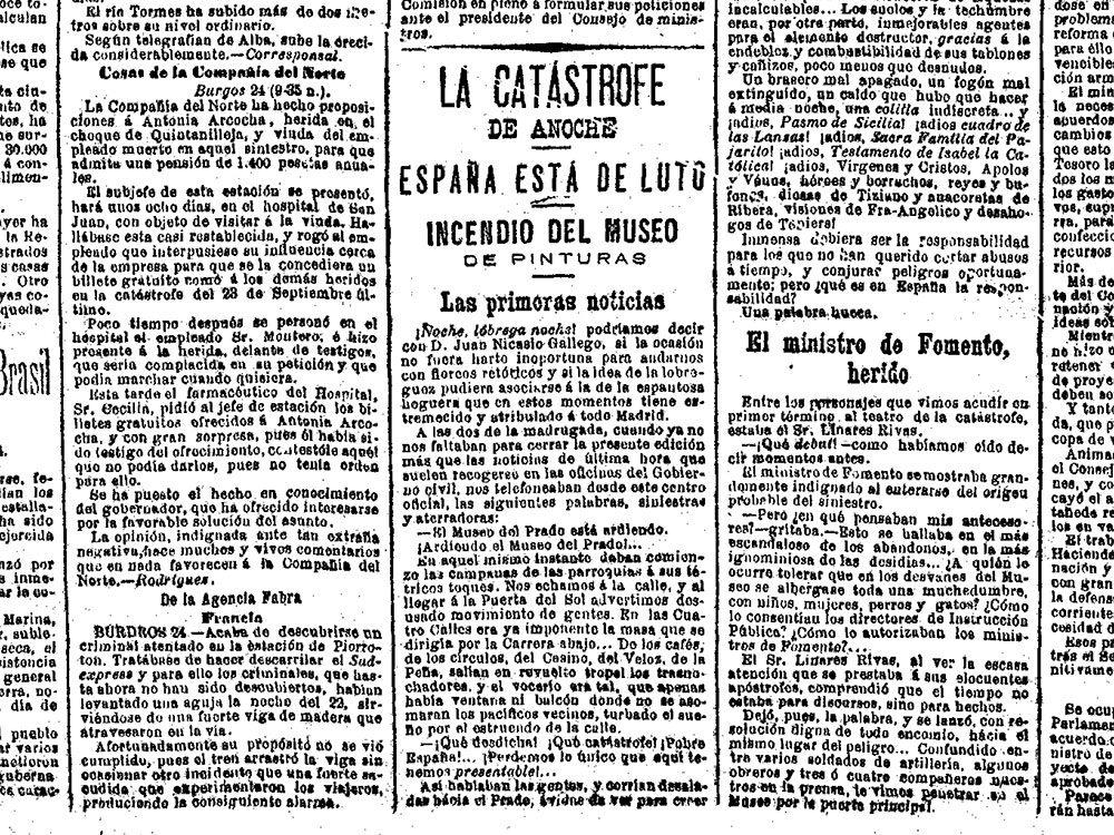 En 1891, le journaliste Mariano de Cavia a publié dans le journal El Liberal un article un indiquant un incendie au Musée du Prado.