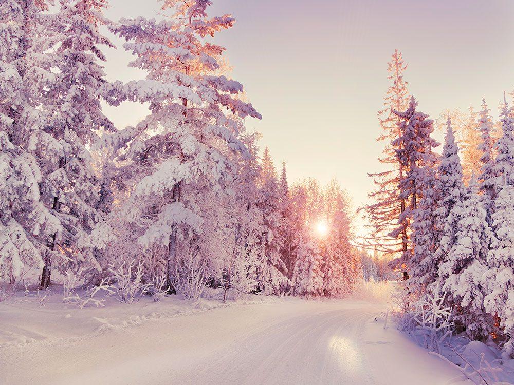 À l'aube, la tempête de neige s'est calmée.