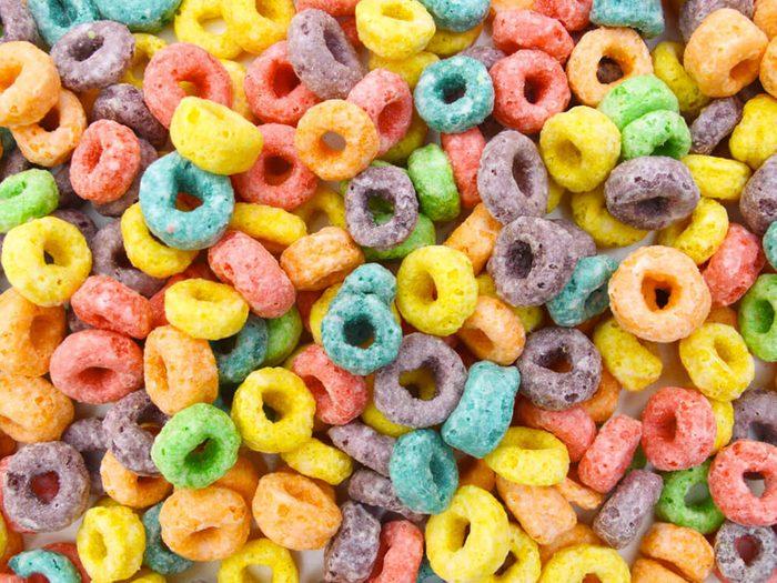Les céréales fruitées font partie des aliments mauvais pour la santé.
