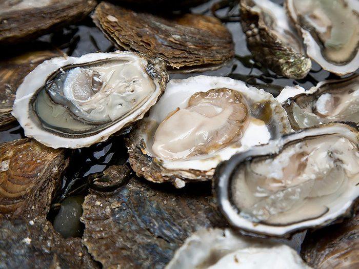 Alimentation: des huîtres encore vivantes.