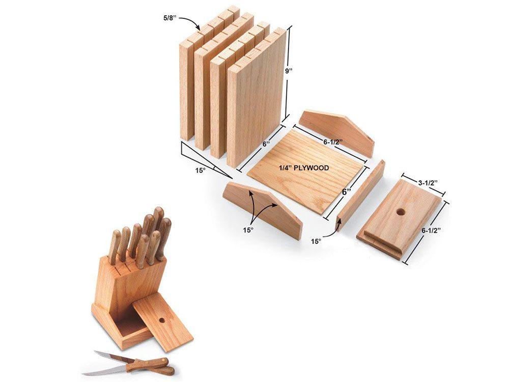 Un porte-couteaux facile à faire pour organiser sa cuisine.