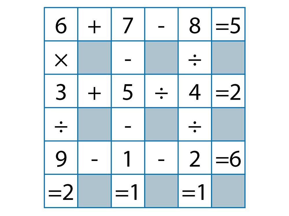 Jeu pour stimuler votre cerveau: mathématiques croisées, réponses.