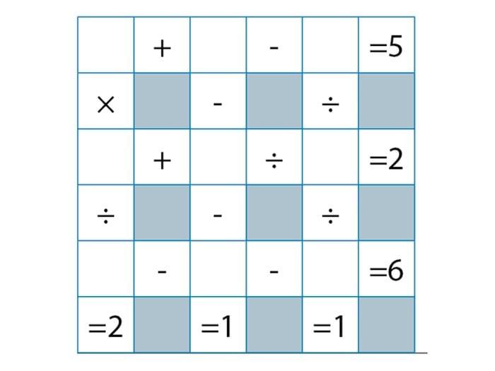 Jeu pour stimuler votre cerveau: mathématiques croisées.