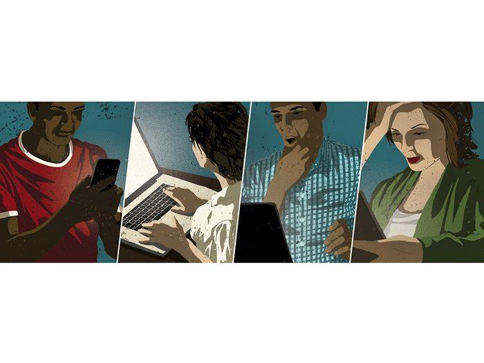 Illustration des personnes échangeant des messages pour retrouver les deux vacanciers perdus dans la jungle.