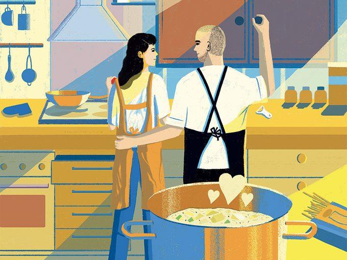 Sauver son mariage en cuisinant: illustration.