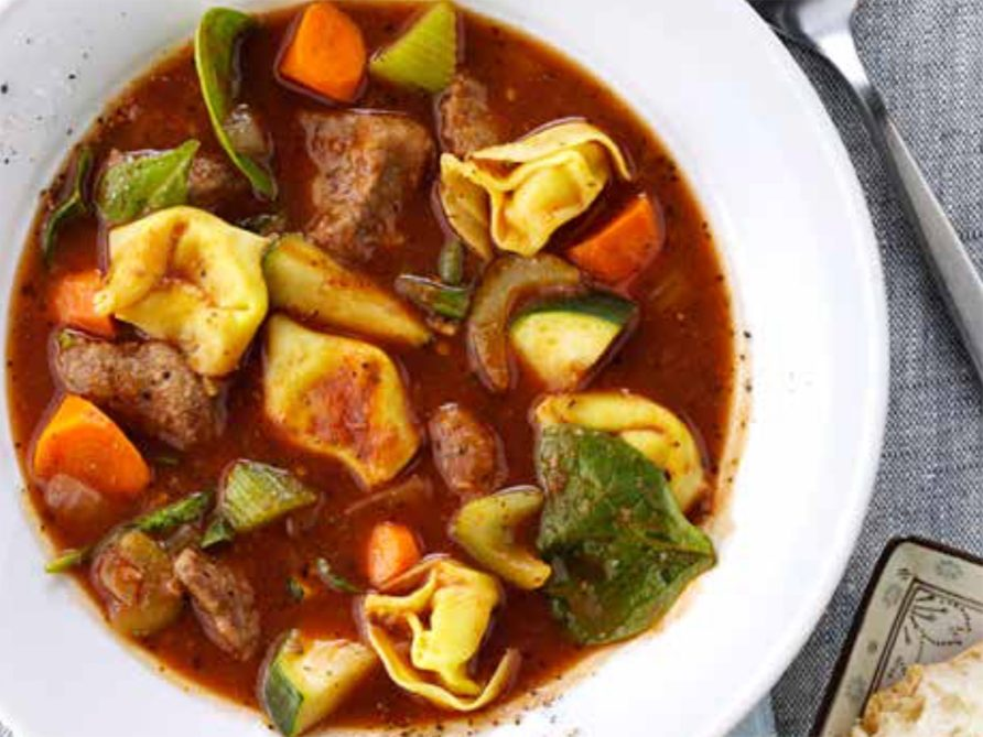 Recette de ragoût de tortellinis au bœuf.