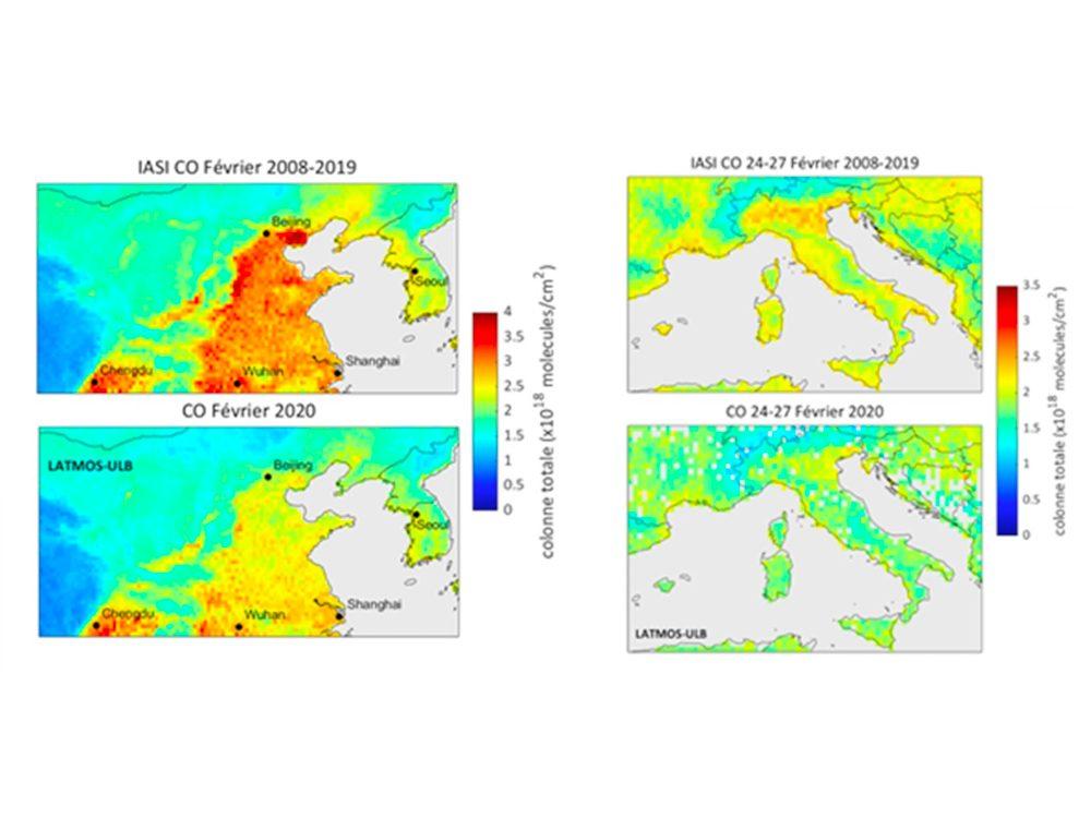 Les effets du COVID-19: diminution de la quantité de monoxyde de carbone mesuré par la mission satellite IASI en Chine (à gauche) et en Italie (à droite).