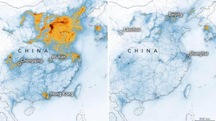Les effets du COVID-19: diminution de la concentration en dioxyde d'azote en Chine.