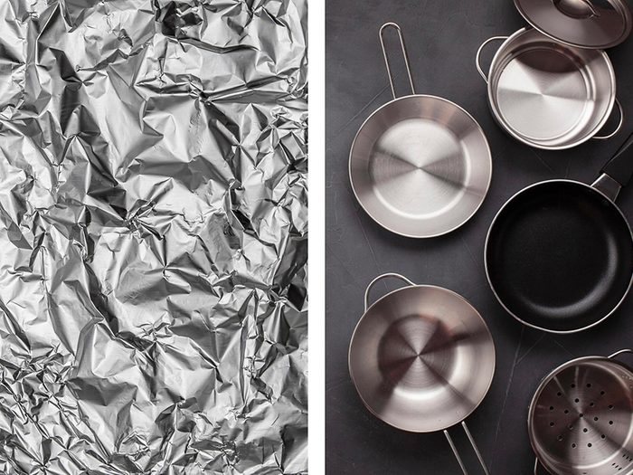 Récurer les casseroles avec de l'aluminium ménager.